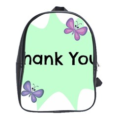 Colorful Butterfly Thank You Animals Fly White Green School Bags (XL)