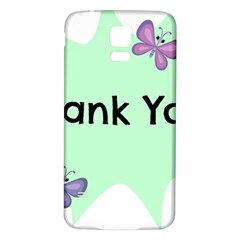 Colorful Butterfly Thank You Animals Fly White Green Samsung Galaxy S5 Back Case (White)