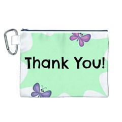 Colorful Butterfly Thank You Animals Fly White Green Canvas Cosmetic Bag (L)
