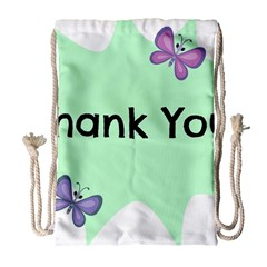 Colorful Butterfly Thank You Animals Fly White Green Drawstring Bag (Large)