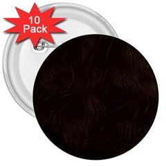 Bear Skin Animal Texture Brown 3  Buttons (10 Pack)