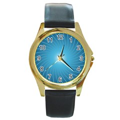 Dreams Sun Blue Wave Round Gold Metal Watch