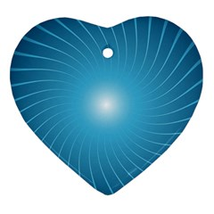 Dreams Sun Blue Wave Heart Ornament (Two Sides)