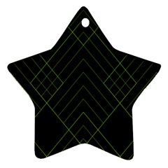 Diamond Green Triangle Line Black Chevron Wave Ornament (star)