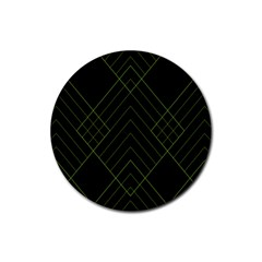 Diamond Green Triangle Line Black Chevron Wave Rubber Coaster (Round)