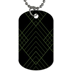 Diamond Green Triangle Line Black Chevron Wave Dog Tag (Two Sides)
