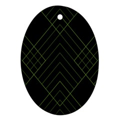 Diamond Green Triangle Line Black Chevron Wave Oval Ornament (Two Sides)