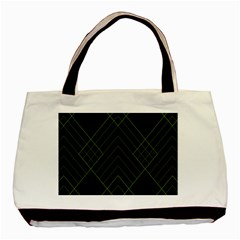 Diamond Green Triangle Line Black Chevron Wave Basic Tote Bag (Two Sides)