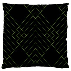 Diamond Green Triangle Line Black Chevron Wave Large Cushion Case (One Side)