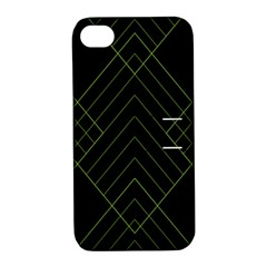 Diamond Green Triangle Line Black Chevron Wave Apple iPhone 4/4S Hardshell Case with Stand