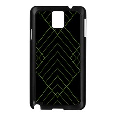Diamond Green Triangle Line Black Chevron Wave Samsung Galaxy Note 3 N9005 Case (Black)