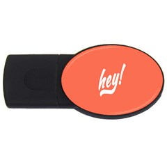 Hey White Text Orange Sign Usb Flash Drive Oval (2 Gb)