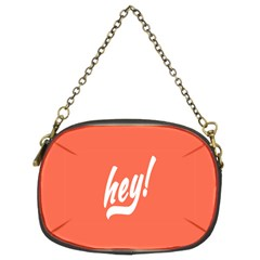 Hey White Text Orange Sign Chain Purses (Two Sides)