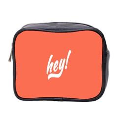 Hey White Text Orange Sign Mini Toiletries Bag 2-Side