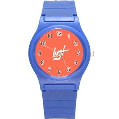 Hey White Text Orange Sign Round Plastic Sport Watch (S)