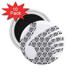 Honeycomb Swan Animals Black White Plaid 2.25  Magnets (10 pack)