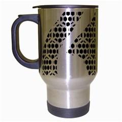 Honeycomb Swan Animals Black White Plaid Travel Mug (Silver Gray)