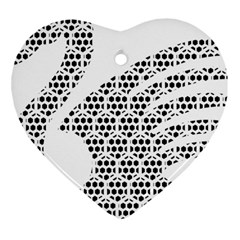 Honeycomb Swan Animals Black White Plaid Heart Ornament (Two Sides)