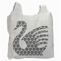 Honeycomb Swan Animals Black White Plaid Recycle Bag (Two Side)