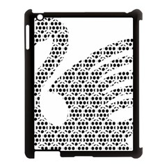 Honeycomb Swan Animals Black White Plaid Apple iPad 3/4 Case (Black)