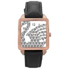 Honeycomb Swan Animals Black White Plaid Rose Gold Leather Watch
