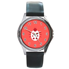 Little Butterfly Illustrations Beetle Red White Animals Round Metal Watch
