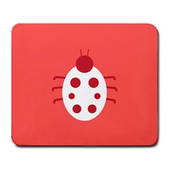 Little Butterfly Illustrations Beetle Red White Animals Large Mousepads