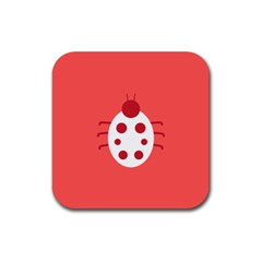 Little Butterfly Illustrations Beetle Red White Animals Rubber Square Coaster (4 pack)