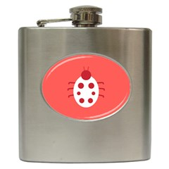 Little Butterfly Illustrations Beetle Red White Animals Hip Flask (6 Oz)
