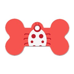 Little Butterfly Illustrations Beetle Red White Animals Dog Tag Bone (Two Sides)