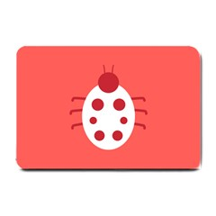 Little Butterfly Illustrations Beetle Red White Animals Small Doormat