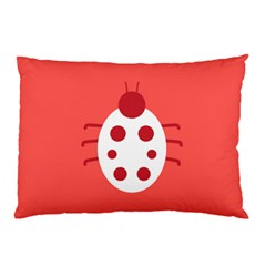 Little Butterfly Illustrations Beetle Red White Animals Pillow Case