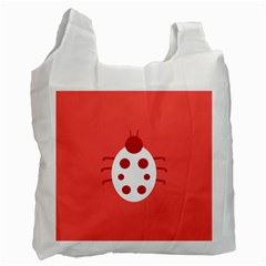 Little Butterfly Illustrations Beetle Red White Animals Recycle Bag (One Side)