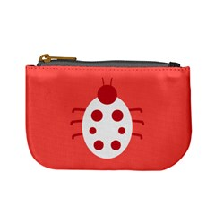 Little Butterfly Illustrations Beetle Red White Animals Mini Coin Purses