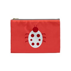 Little Butterfly Illustrations Beetle Red White Animals Cosmetic Bag (Medium)