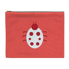 Little Butterfly Illustrations Beetle Red White Animals Cosmetic Bag (XL)