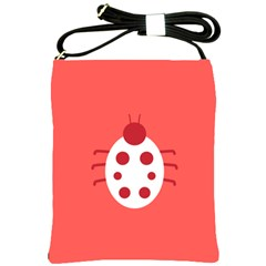 Little Butterfly Illustrations Beetle Red White Animals Shoulder Sling Bags