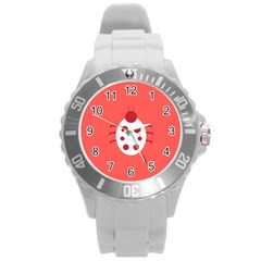 Little Butterfly Illustrations Beetle Red White Animals Round Plastic Sport Watch (L)