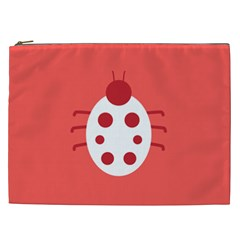 Little Butterfly Illustrations Beetle Red White Animals Cosmetic Bag (XXL)