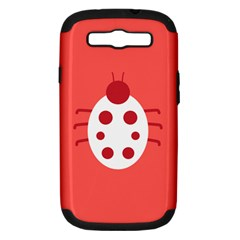 Little Butterfly Illustrations Beetle Red White Animals Samsung Galaxy S III Hardshell Case (PC+Silicone)