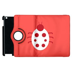 Little Butterfly Illustrations Beetle Red White Animals Apple iPad 3/4 Flip 360 Case