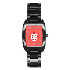 Little Butterfly Illustrations Beetle Red White Animals Stainless Steel Barrel Watch
