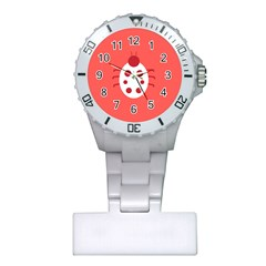 Little Butterfly Illustrations Beetle Red White Animals Plastic Nurses Watch
