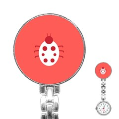 Little Butterfly Illustrations Beetle Red White Animals Stainless Steel Nurses Watch