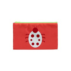 Little Butterfly Illustrations Beetle Red White Animals Cosmetic Bag (XS)