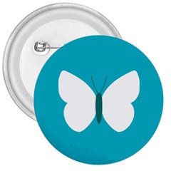 Little Butterfly Illustrations Animals Blue White Fly 3  Buttons