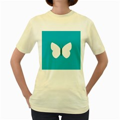 Little Butterfly Illustrations Animals Blue White Fly Women s Yellow T Shirt