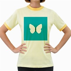 Little Butterfly Illustrations Animals Blue White Fly Women s Fitted Ringer T-Shirts