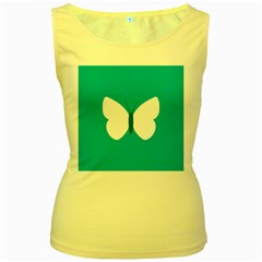 Little Butterfly Illustrations Animals Blue White Fly Women s Yellow Tank Top