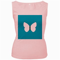 Little Butterfly Illustrations Animals Blue White Fly Women s Pink Tank Top